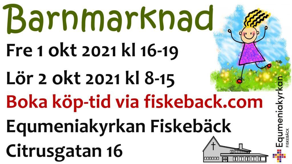 Affisch för Barnmarknad 1-2 oktober 2021